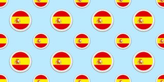 Spain round flag seamless pattern. Spanish background. Vector circle icons. Geometric symbols. Texture for language courses, sport royalty free illustration