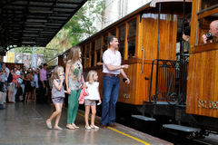 Spain Royal family holidays. Spain royals, King Felipe, Queen Letizia and Princesses Leonor L and Sofia pick a train during the start of their holidays in Palma Stock Image