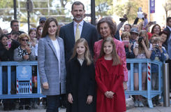 Spain royal family pose in Majorca Stock Images