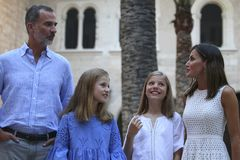 Spain royal family pose in mallorca during summer holidays Stock Photo