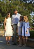 Spain royal family pose in mallorca during summer holidays vertical Royalty Free Stock Photo