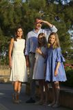 Spain royal family pose in mallorca during summer holidays vertical royalty free stock image