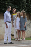 Spain Royal family posing at Marivent palace during their summer holidays. Spain Royals King Felipe, Queen Letizia and Princesses Sofia and Leonor pose in the stock photos