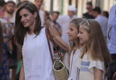 Spain Royal family posing at Soller village during their summer holidays. Spain Royals Queen Letizia and Princesses Sofia and Leonor pose in the streets of royalty free stock photo