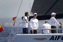 Spain Royal King Felipe sailing with the Aifos sail boat Royalty Free Stock Images