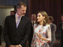 Spain kings at congress palace opening in mallorca. Spain Royals King Felipe and Queen Letizia gesture during the opening of the new congress palace in the Royalty Free Stock Images