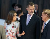 Spain kings speaking at congress palace opening in mallorca. Spain Royals King Felipe and Queen Letizia speak with CEO of MElia hotels Gabriel escarrer during Royalty Free Stock Photography