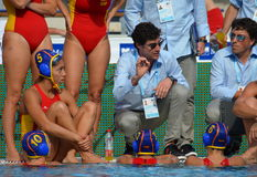 Spain's OCA Miguel head coach talking about the tactics Stock Photo