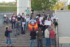 Spain's pre-election protest ban in Tallinn Stock Photos