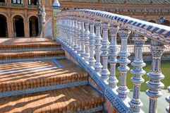 Spain's square in Sevilla - Ceramics. A detail of one of the bridge in the Plaza de España, in Seville, south of Spain Royalty Free Stock Images