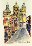 Spain.  Salamanca. Spain. An ancient street in the ancient city of Salamanca. Watercolor drawing. City sketch Royalty Free Stock Photography