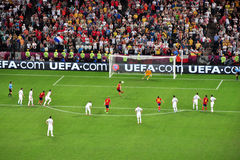 Spain scored the second goal against France Royalty Free Stock Photo
