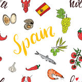Spain seamless pattern doodle elements, Hand drawn sketch spanish food shrimps, olives, grape, flag and lettering. vector illustra Stock Photo