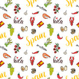 Spain seamless pattern doodle elements, Hand drawn sketch spanish food shrimps, olives, grape, flag and lettering. vector illustra Stock Photos