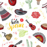 Spain seamless pattern doodle elements, Hand drawn sketch spanish traditional guitars, dress and music instruments, map of spain a Stock Photos
