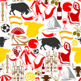 Spain seamless pattern. Spanish traditional symbols and objects Stock Images