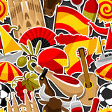 Spain seamless pattern. Spanish traditional sticker symbols and objects Royalty Free Stock Photography