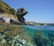 Spain seashore rock formation and rocks underwater Royalty Free Stock Photos