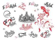 Spain. Set of elements. A sketch of the Cibeles Palace in Madrid. Stylish lettering. The dancing Spanish girl in a national dress. Inscriptions. Flamenco royalty free illustration