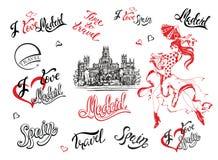 spain set vektor för elementillustration En skissa av den Cibeles slotten i Madrid Stilfull bokstäver Den spanska flickan för dan royaltyfri illustrationer