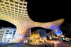 Free SPAIN - SEVILLA: Night View Of Metropol Parasol In Plaza Encarnacion, Andalusia Province. Stock Image - 111576661