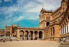 Spain, Seville. Spain Square a is a landmark example of the Renaissance Revival style in Spain royalty free stock photos