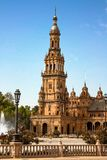 Spain, Seville. Spain Square a is a landmark example of the Renaissance Revival style in Spain royalty free stock image