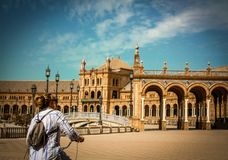 Spain, Seville. Spain Square a is a landmark example of the Renaissance Revival style in Spain stock image