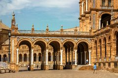 Spain, Seville. Spain Square or Plaza de España a is a landmark example of the Renaissance Revival style in Spain stock photography