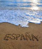 Spain sign on the beach Royalty Free Stock Photo