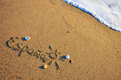 Spain sign on the beach Royalty Free Stock Images