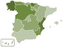 Spain silhouette map Stock Photo