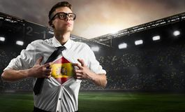 Spain soccer or football supporter showing flag Stock Photo