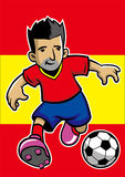 Spain soccer player with flag background Royalty Free Stock Photo