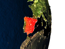 Spain from space during dusk Royalty Free Stock Image