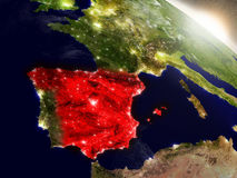 Spain from space highlighted in red Stock Photography