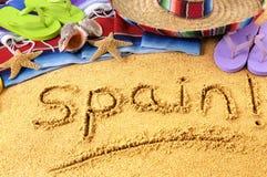 Spain, Spanish beach, sombrero. Spanish beach summer vacation, sombrero, sand writing royalty free stock image