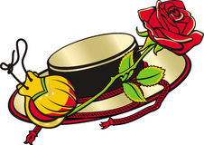 Spain and spanish culture. Spanish hat, castanets, and red rose.