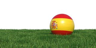 Spain Spanish flag soccer ball lying in grass world cup 2018. Isolated on white background. 3D Rendering, Illustration Stock Photos