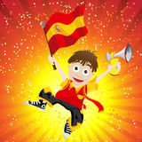 Spain Sport Fan with Flag and Horn Stock Image