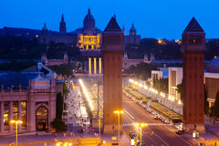 Spain square at Barcelona in evening Stock Photos