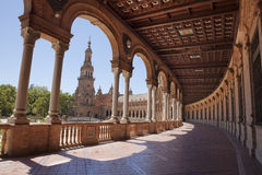 Spain Square gallery. Interior gallery in Spain Square (Plaza de España) wich is in the Maria Luisa Park, in Seville. It is a landmark example of the Stock Photo
