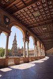 Spain Square gallery and wood panelling Stock Images