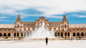Spain Square is landmark in Seville, Andalusia, Spain. Plaza de Royalty Free Stock Images
