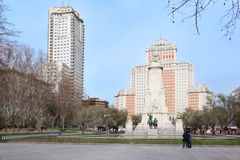 Spain Square, monument to Cervantes, Don Quixote and Sancho Panza Royalty Free Stock Image