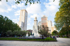 Spain Square with monument to Cervantes, Torre de Madrid and Edi Stock Image