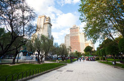 Spain Square with monument to Cervantes, Torre de Madrid and Edi Stock Photos