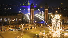 Spain square in new year`s night with the city lights in Barcelona stock footage