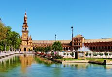 Spain Square. The Plaza de España (Spain Square, in English) located in the Parque de María Luisa (Maria Luisa Park), in Seville, Spain Royalty Free Stock Photography