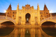 Spain Square at night. Sevilla - Spain. Spain square Plaza de España at night. Sevilla - Spain Stock Photo